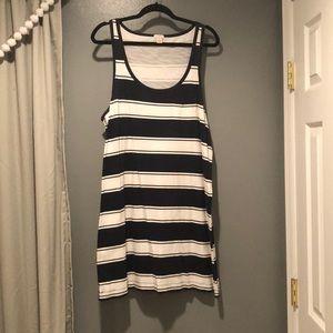 J.Crew Nvy/White Striped Racerback Casual Dress XL